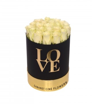 Medium Love Box White-Love Silindir Kutu