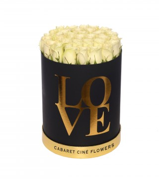Large Love Box White-Love Silindir Kutu
