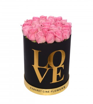 Large Love Box Pink-Love Silindir Kutu